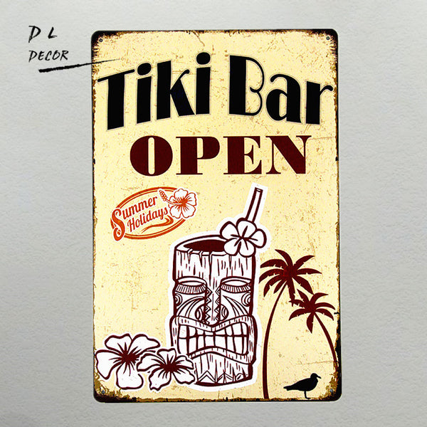 TIKI Bar Open Metal Wall Art