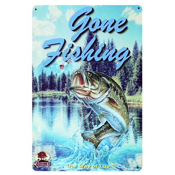 [ Mike86 ] GONE FISHING Metal Tin Signs Wall ART Decoration PUB Home Iron Painting 20*30 CM Mix Items B-251