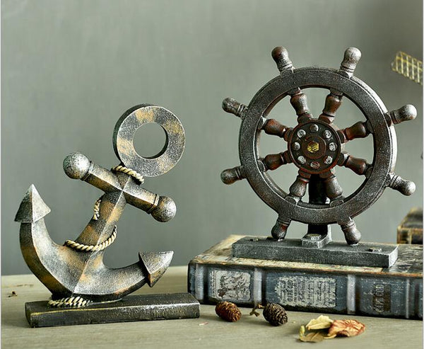 Resin Mini Ship's Anchor Compass Rudder Decor