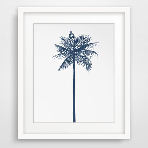 Navy Palm Tree Canvas Wall Art