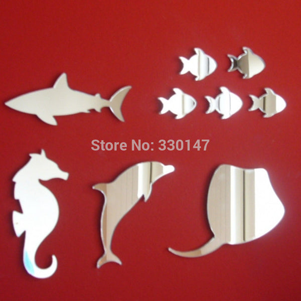 NINE FISH Sea Life Mirrors Seahorse, Shark, Stingray & Dolphin Acrylic Wall Sticker DIY Self-adhesion Decoration for KId's Room