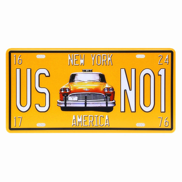 USA Vintage Metal Tin Signs Route 66 Car Number License Plate Plaque ...
