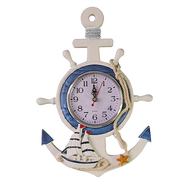 Nautical Ship Wheel and Anchor Clock
