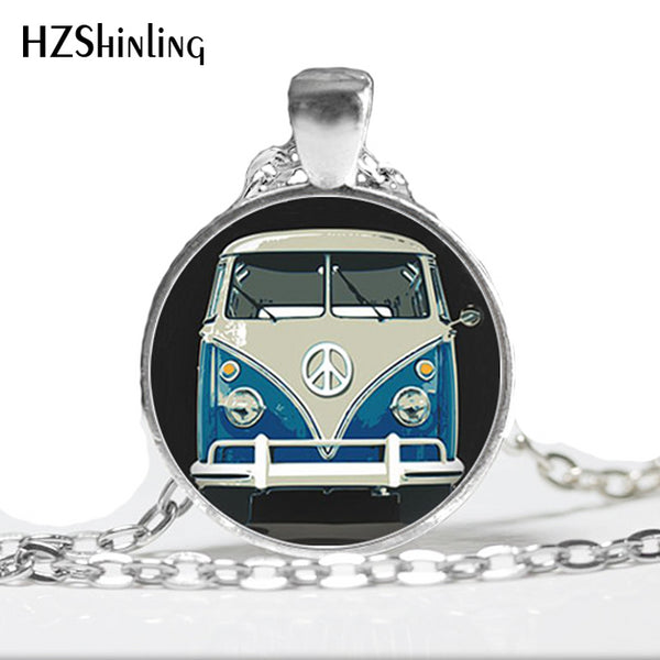 Vintage Blue-Red-Yellow Hippie Peace Van Bus Photo Pendant Necklace Retro Beach bus Car Collectors Bus Peace Sign Jewelry HZ1