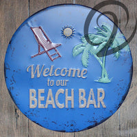 Welcome to Our Beach Bar Metal Signs 30cm Cafe Bar Pub Decorations Metal Art Poster Tin Plaques Home Decor Tin Sigs