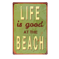 Metal Retro Beach Sign (Assorted)