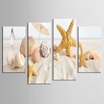 Modular 4 Panel Seashells Beach Abstract Wall Canvas
