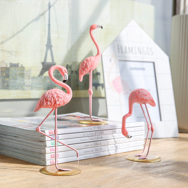 Resin Pink 3D Flamingos Decoration Cute animal Home Decoration Craft Desktop decoration Creative Valentine's birthday party Gift