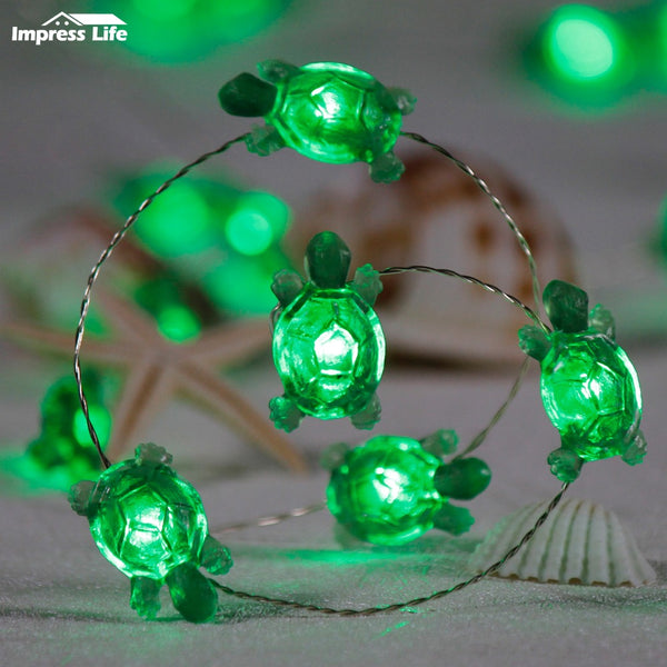 Sea Turtles Fairy LED Animals String Lights Decorations Beach Ocean Themed 10 ft Copper Wire Dimmer Tents Aquarium Tortoise