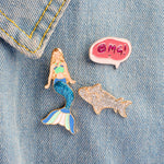 Mermaid Shark Pins Set of 3