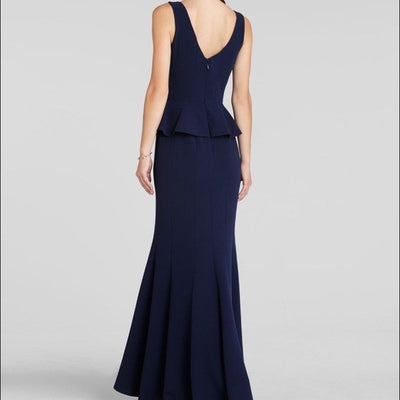 BCBG Navy Peplum Gown - Boro Dress Rentals