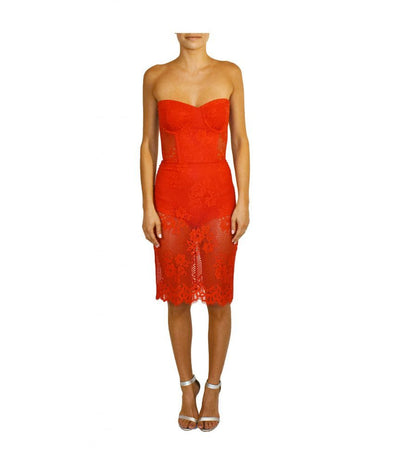 For Love & Lemons Red Lace - Boro Dress Rentals