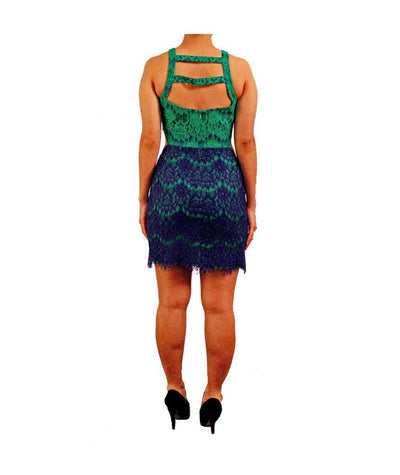 Jay Godfrey Green Blue Lace - Boro Dress Rentals