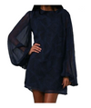 Winter Kate Long Sleeve Navy Silk Dress