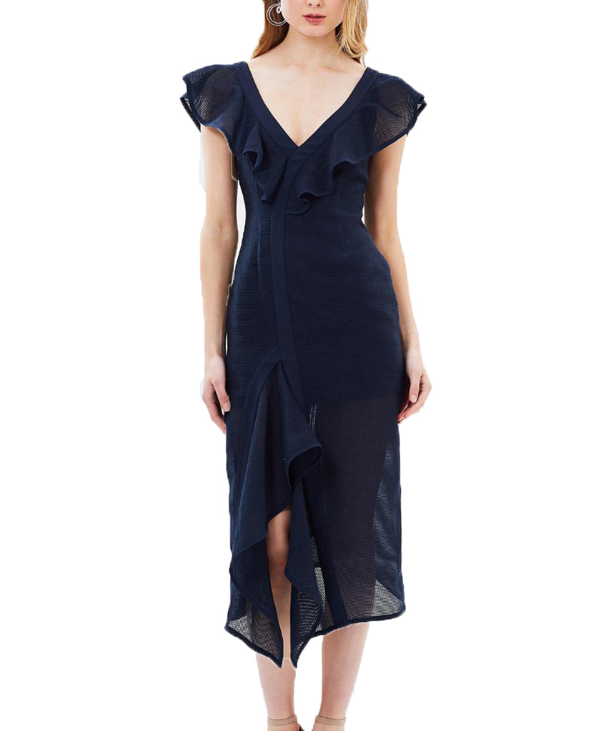 Keepsake Navy Ruffles - Boro Dress Rentals