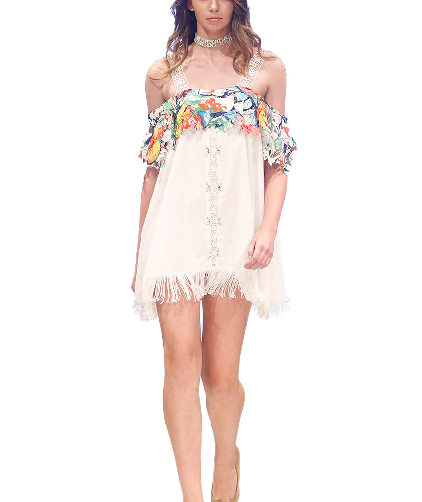 Laced Silk Shoulder Floral