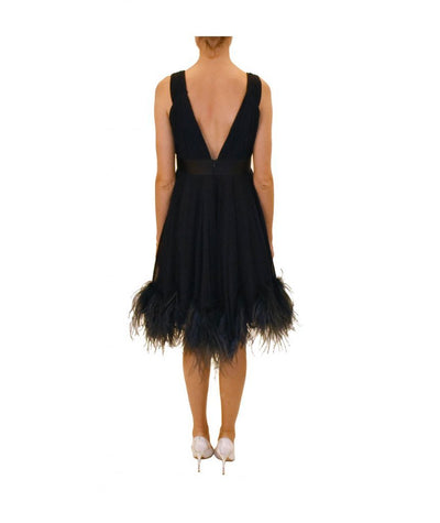 Marchesa Navy Feather Trim - Boro Dress Rentals