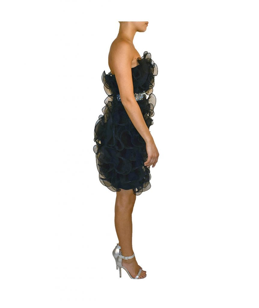 Marciano Navy Ruffle Crystal Belt - Boro Dress Rentals