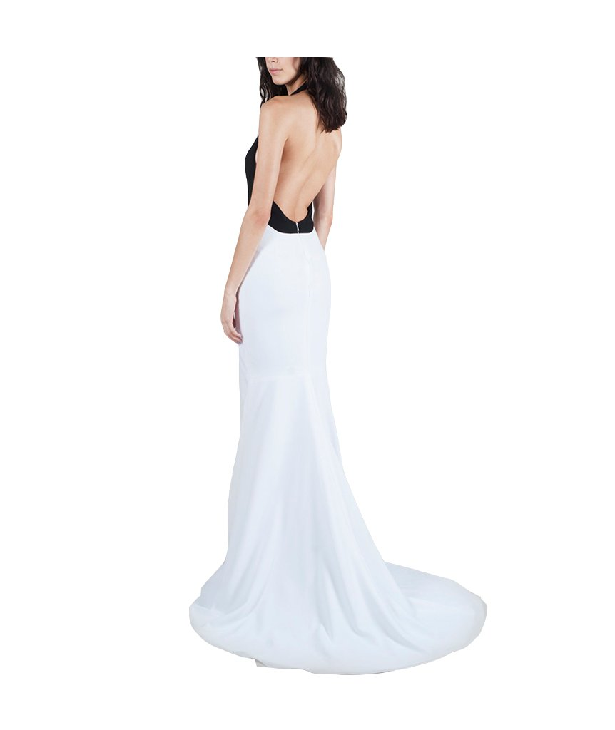 Black and White Crepe Halter Fit - Boro Dress Rentals