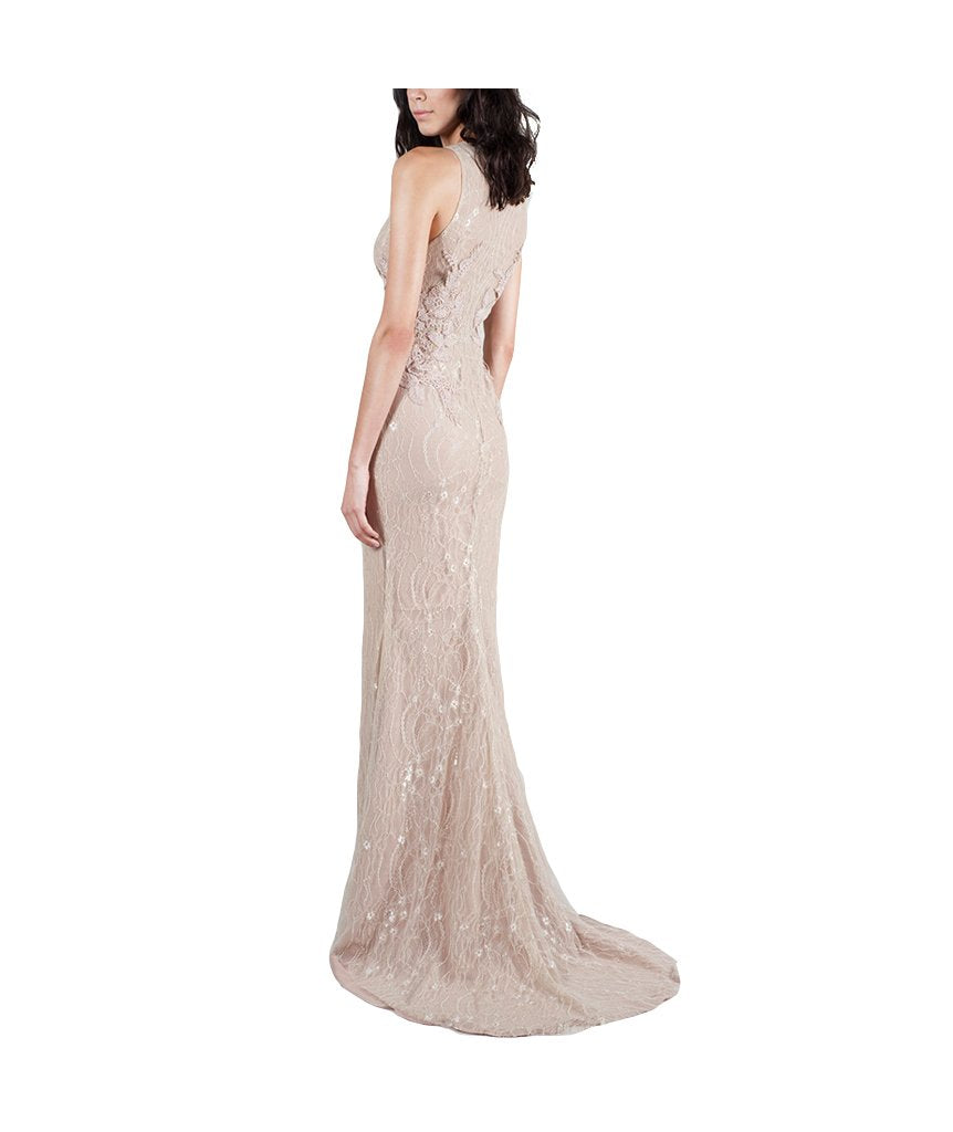 Nude Chantilly Lace Deep V Gown - Boro Dress Rentals