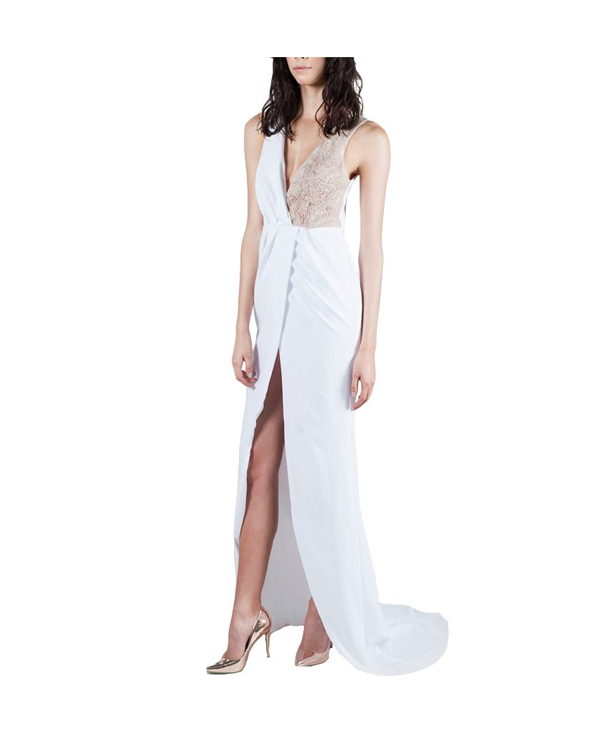 White crepe pleated wrap