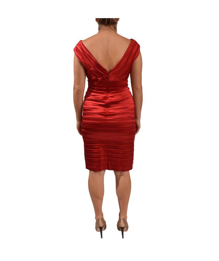 Tadashi Shoji Red Satin Cocktail - Boro Dress Rentals