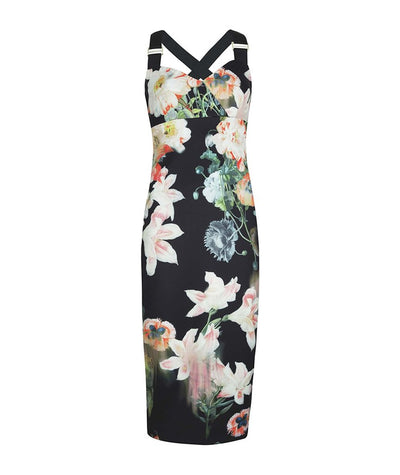 Ted Baker Floral Harness-Strap Midi Dress