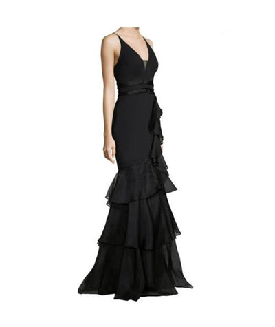 Aidan Mattox Black Ruffle - Boro Dress Rentals