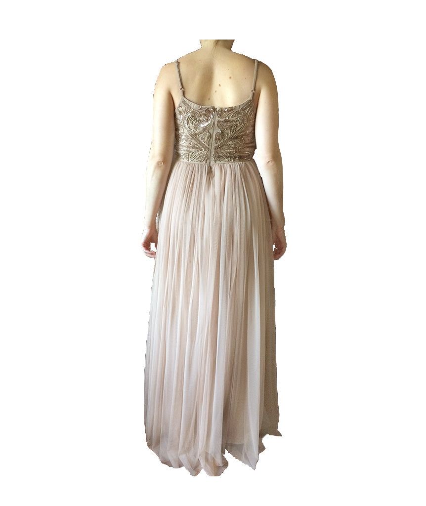 Maya Deluxe Blush Bead Gown