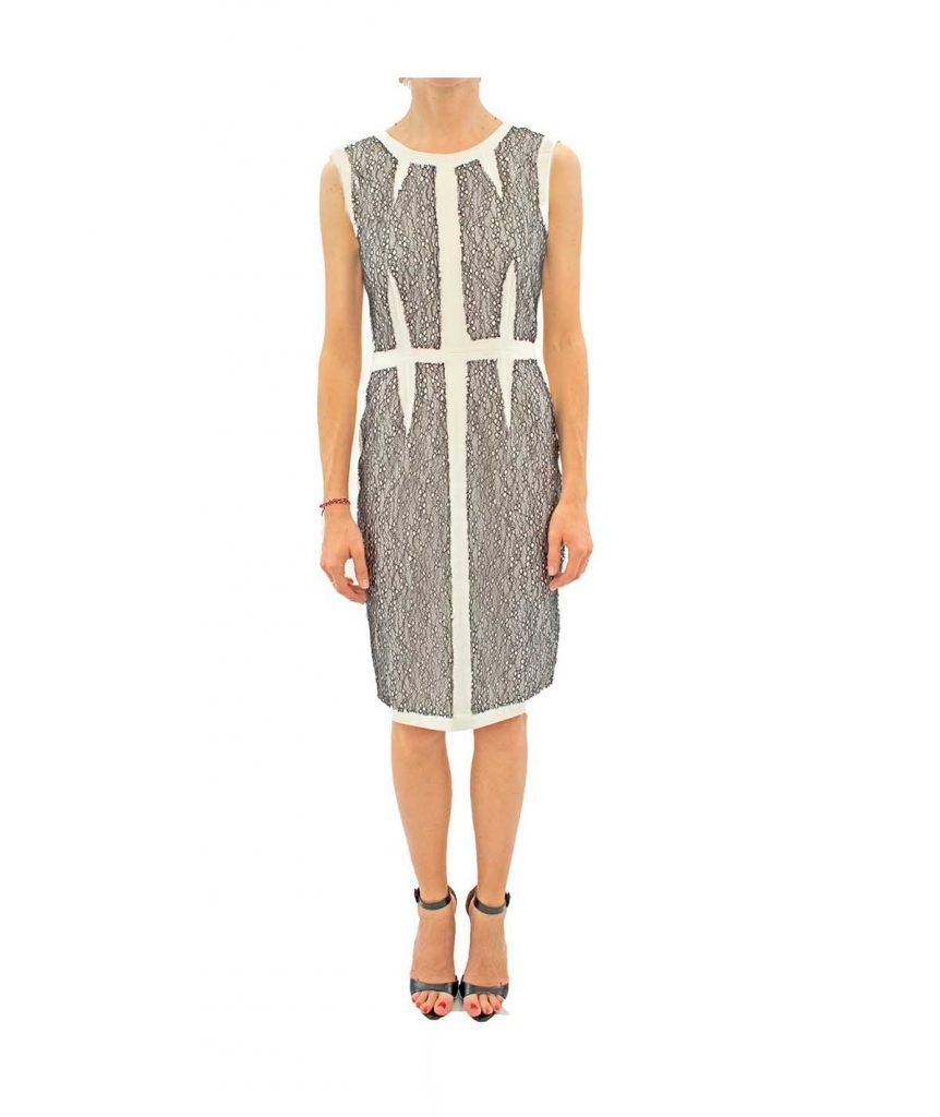 BCBG Black Lace on White - Boro Dress Rentals