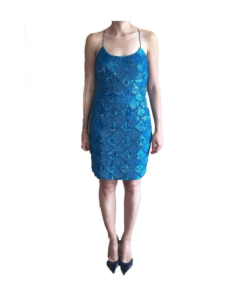 Aidan Mattox Blue Bead - Boro Dress Rentals