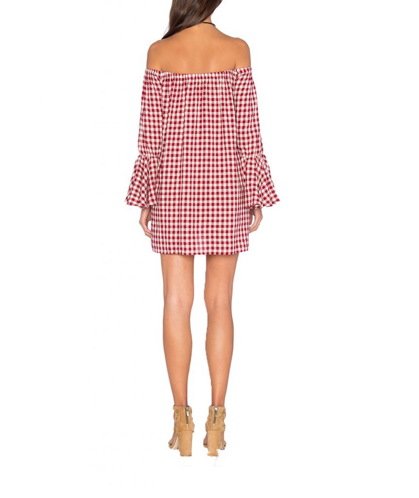 Capulet Cold Shoulder Gingham - Boro Dress Rentals