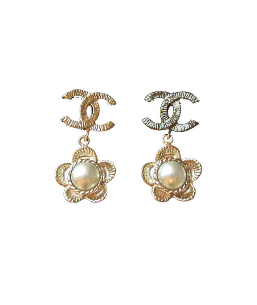 Chanel Flower Pearl Earrings - Boro Dress Rentals