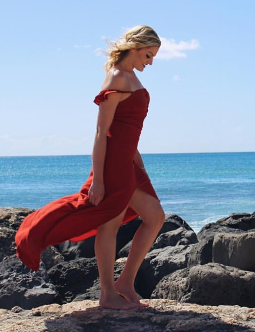 Flynn Skye Red Orange Maxi - Boro Dress Rentals