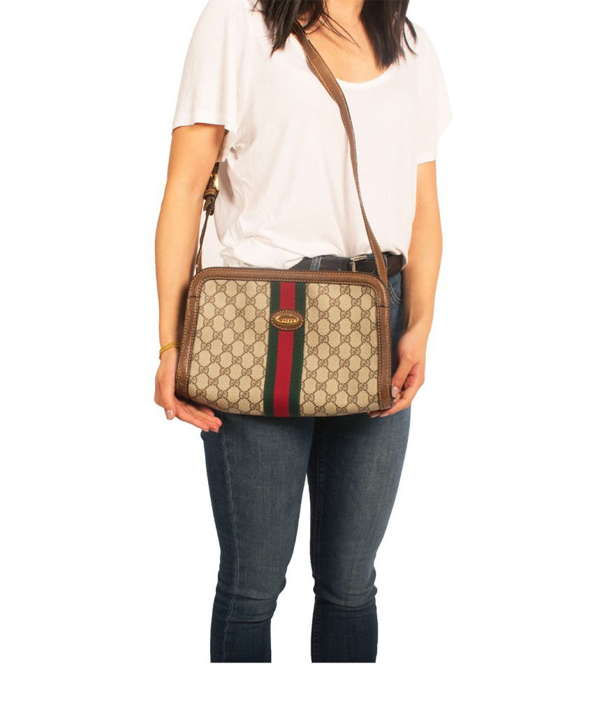 Gucci Brown Crossbody Stripe