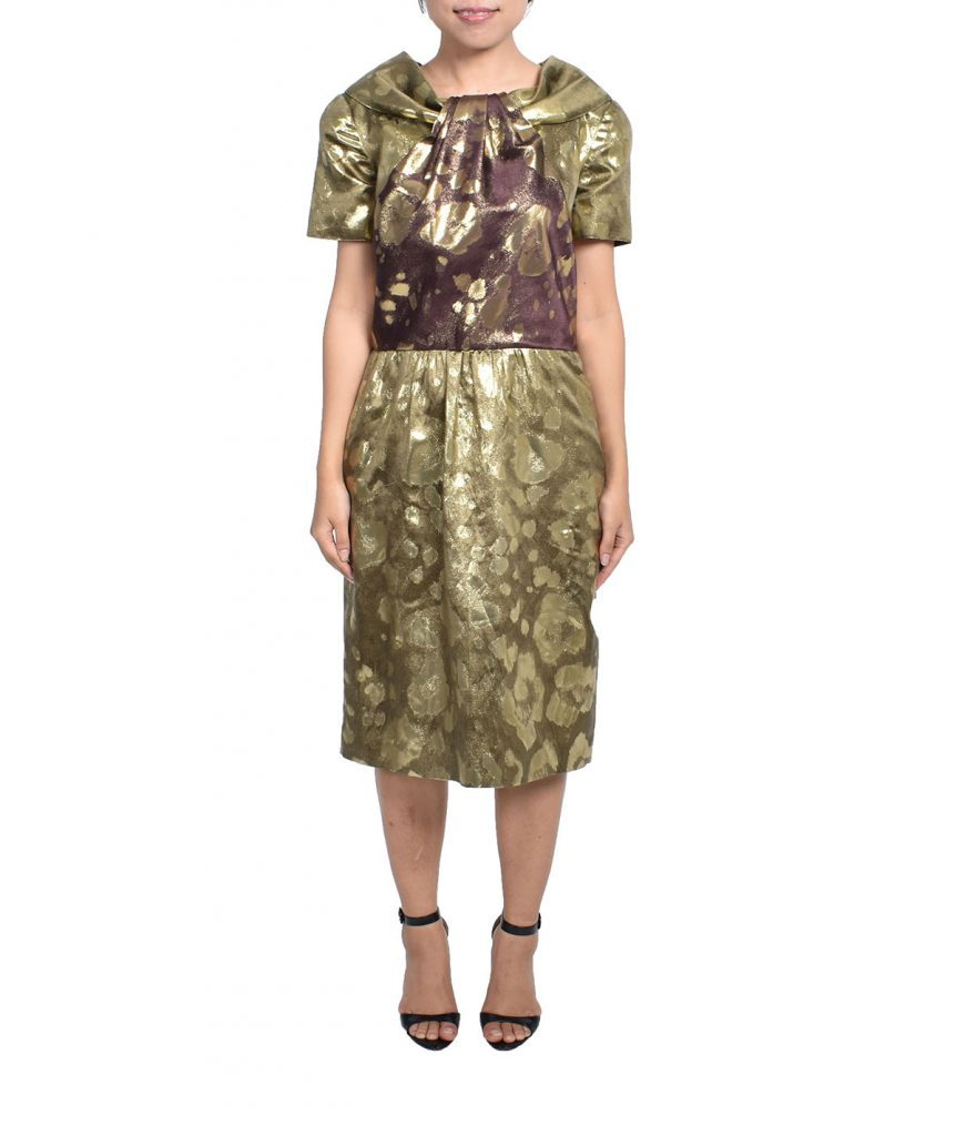 Oscar de la Renta Gold Capsleves - Boro Dress Rentals