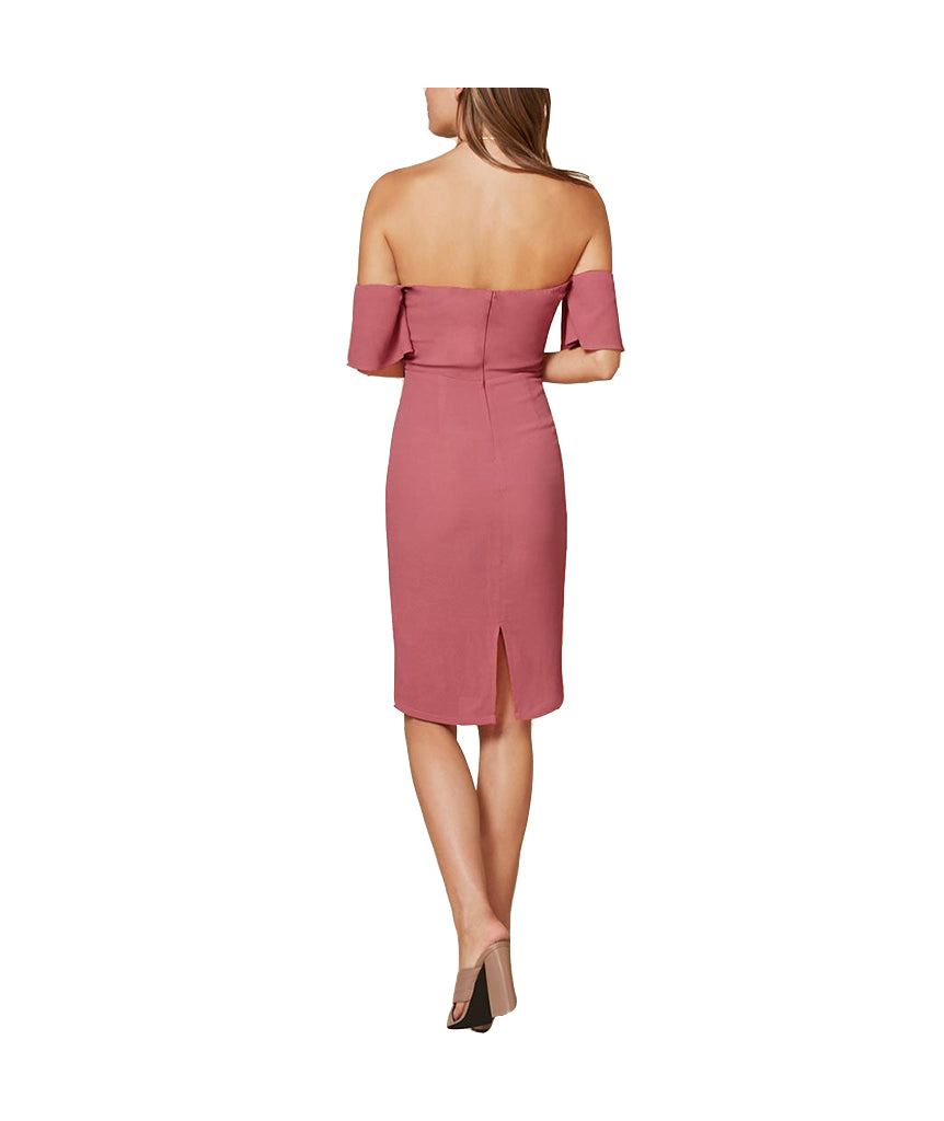 Reformation Pink Off-the-shoulder Midi - Boro Dress Rentals