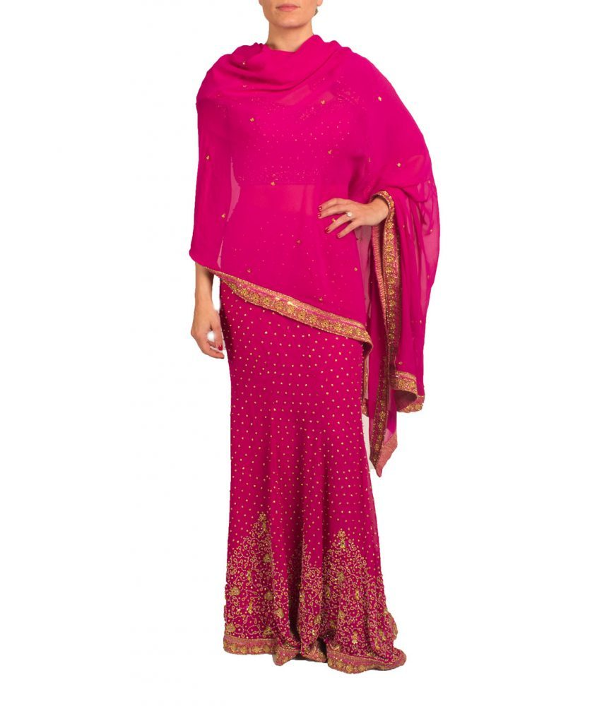 Fuchsia Sari - Boro Dress Rentals