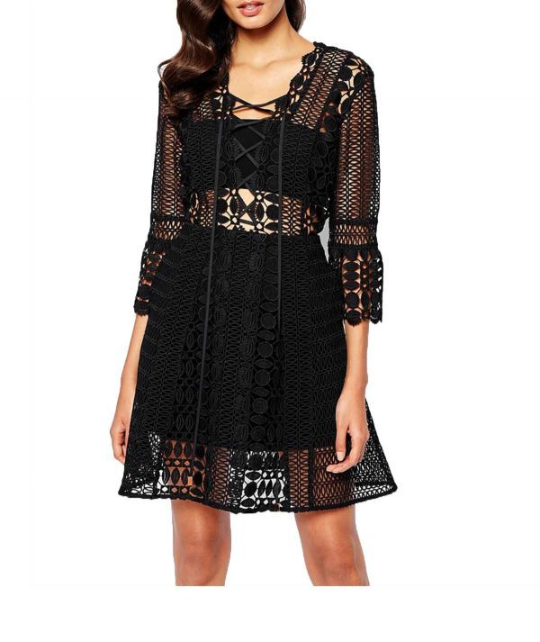 Self Portrait Black Sleeved - Boro Dress Rentals