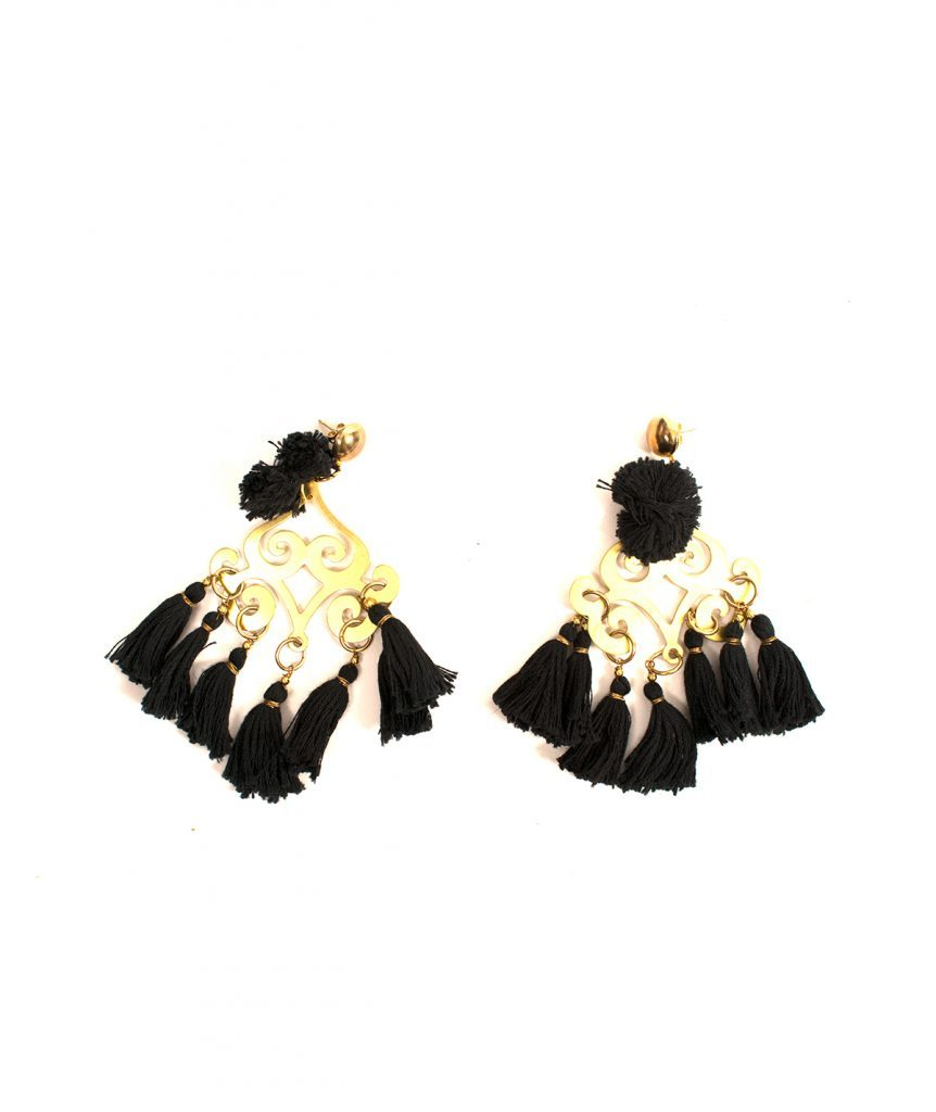 Shannon Hazell Black Tassel Earrings - Boro Dress Rentals