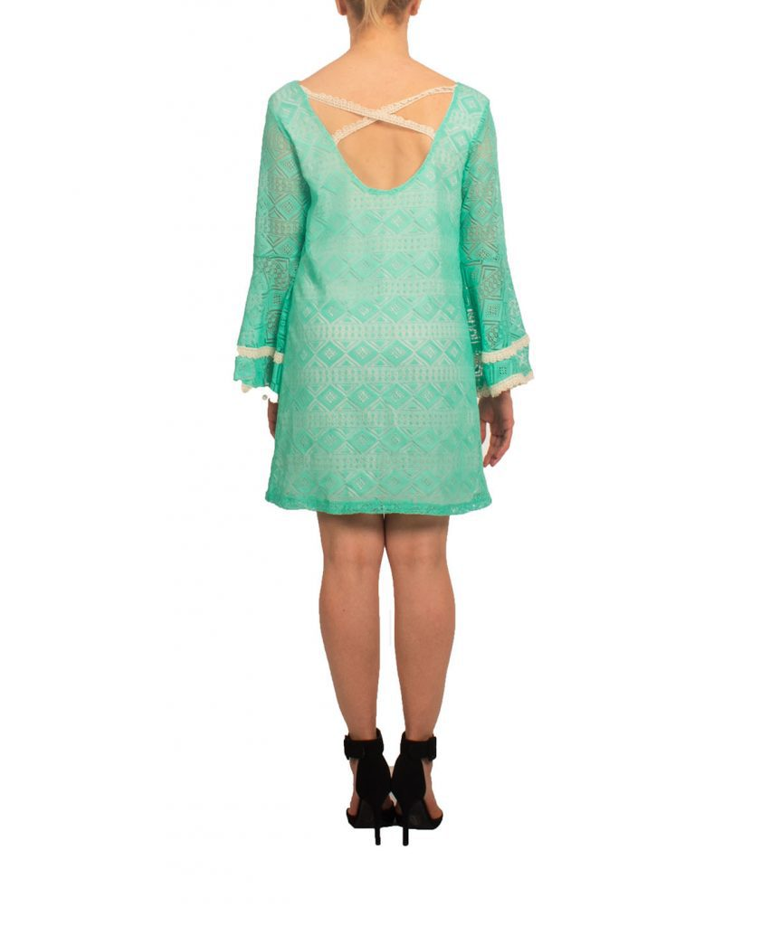 Turquoise Lace Bell Sleeve - Boro Dress Rentals