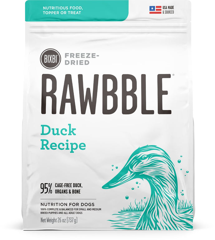 BIXBI Rawbble Duck Recipe Freeze Dried Dog Food