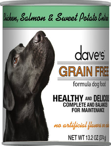 Daves Grain Free Chicken Salmon and Sweet Potato Dog Canned