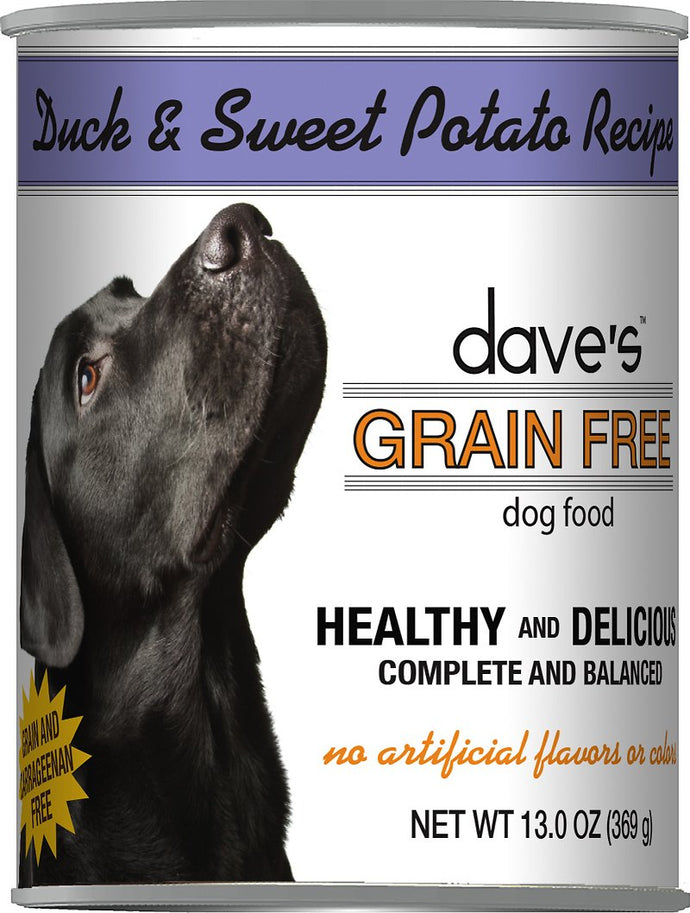 Daves Grain Free Duck and Sweet Potato Dog Canned