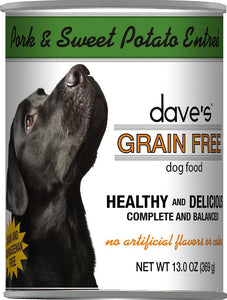 Daves Grain Free Pork and Sweet Potato Dog Canned