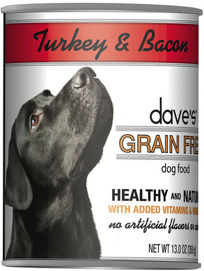 Daves Grain Free Turkey and Bacon Dog Canned