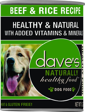 Daves Naturally Healthy Beef and Rice Dog Canned