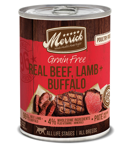 Merrick Grain Free Real Beef, Lamb & Buffalo Dog Can