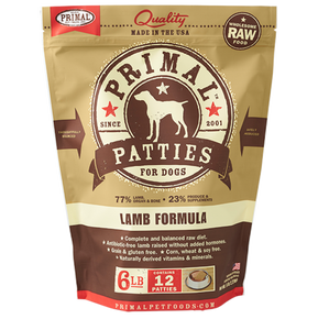 Primal Frozen Raw Dog Food- Lamb Pattie