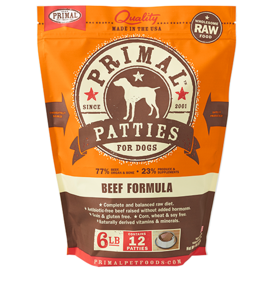 Primal Frozen Raw Dog Food- Beef Pattie